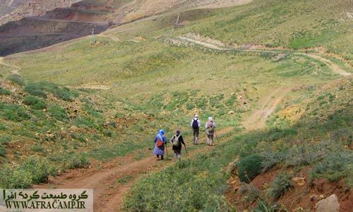 جاده خاکی از پایین تا قله برای تأسیسات کشیده شده است.