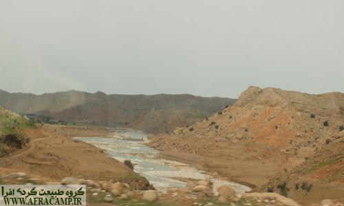 دور نمای رود آب شور که به سد گتوند سرازیر است