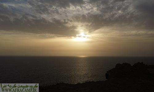 غروب دریای مکران از بالای قلعه پرتغالی های تیس