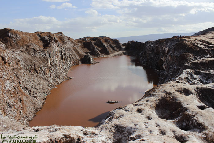 Lake formed by precipitation sightseeing attraction in the salt dome in Qom.